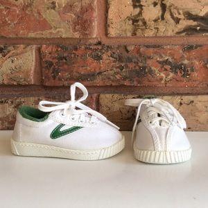 Tretorn Baby Toddler Sz 3 White & Green Sneakers